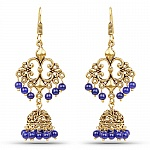 Brass Jhumka Dangle Earrings with Blue Colored Beads