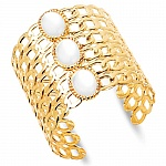 Gold Plated Mother of Pearl Fashion Hand Cuff Kada